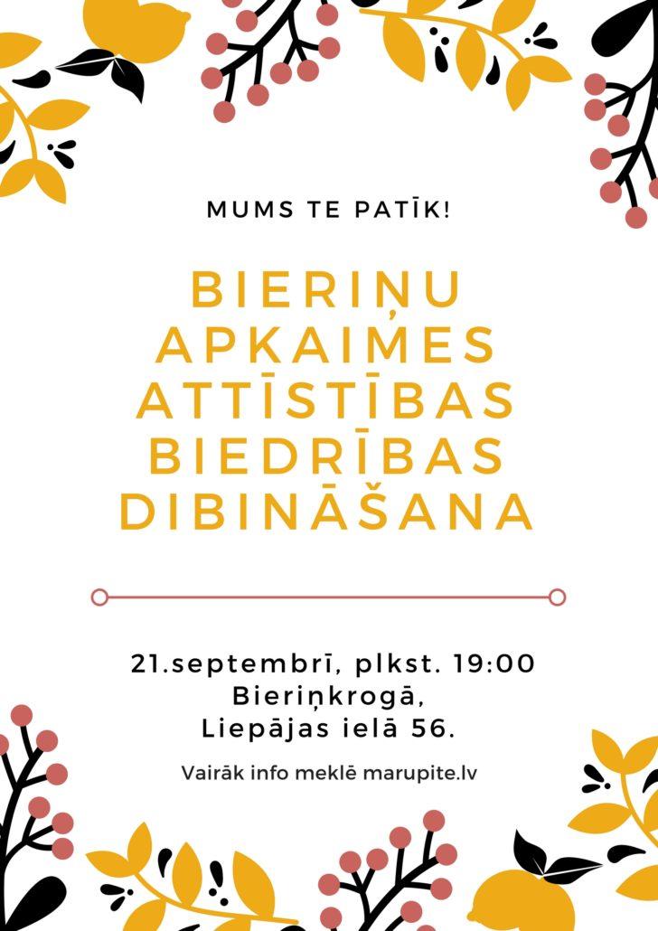 21. septembrī notiks Bieriņu apkaimes attīstības biedrības dibināšana