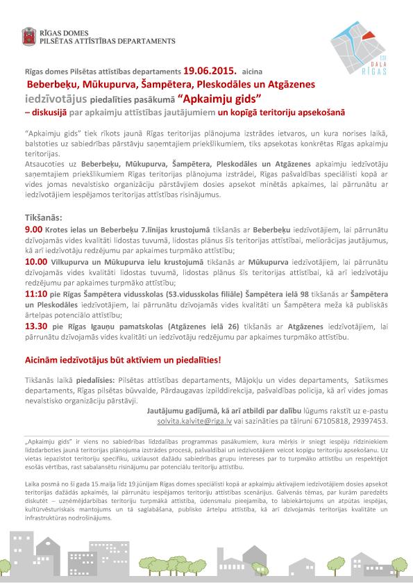 """19.jūnijā """"Apkaimju gids"""" Beberbeķu, Mūkupurva, Šampētera, Pleskodāles un Atgāzenes apkaimēs"""
