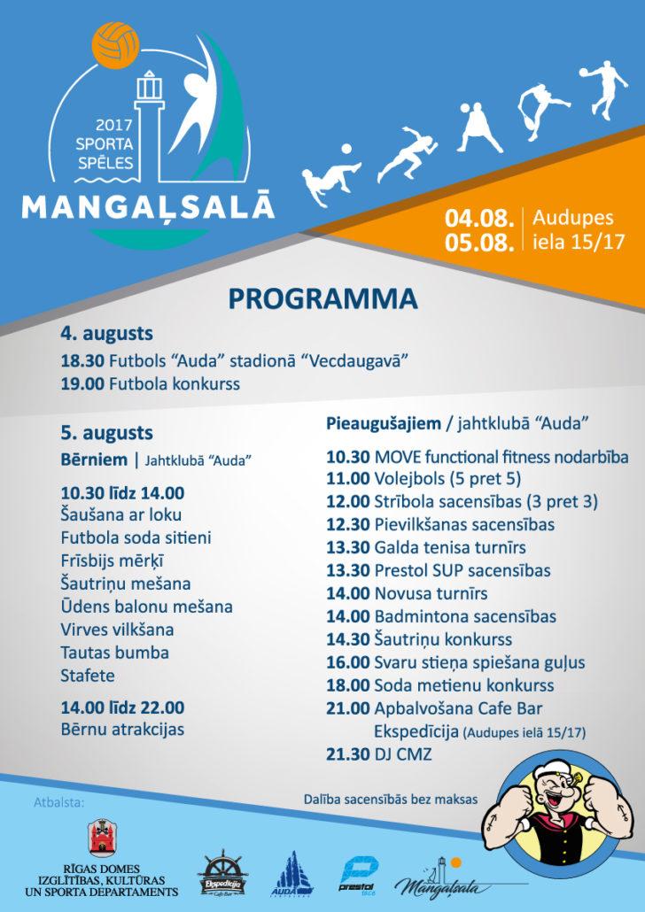 4. un 5. augustā notiks sporta spēles Mangaļsalā 2017