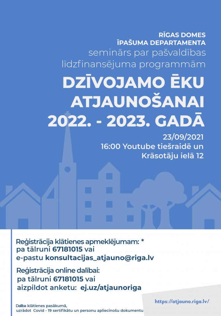 Baneris par Rīgas pašvaldības līdzfinansējumu dzīvojamo ēku atjaunošanai